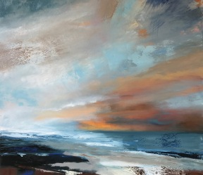 Warm sky over Cornish Sea 70 x 80 cm SOLD
