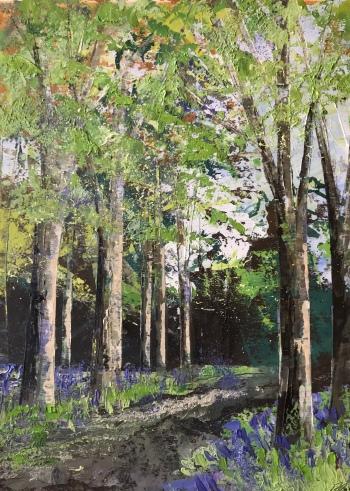 Bluebell walk 25 x 35 oil on paper unframed SOLD