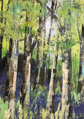 The Wild Bluebell Wood 26 x 36 cm oil on paper