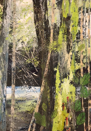 Walk along the river valley oil on paper 25. x 35