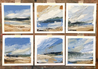 Abstract Seascapes Series 2 each painting 13 x 13 cm