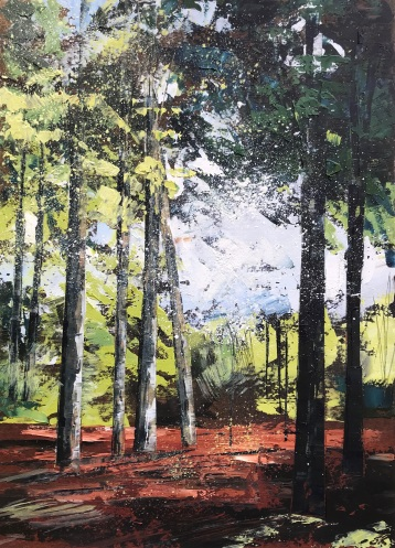 Evening Woodland Walk oil on paper 35 x 25 cm