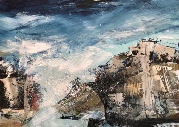 Seaspray, oil on paper 35 x 25 cm unframed