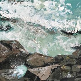 Emerald Sea below Rocks oil on paper 25 x 25 cm SOLD