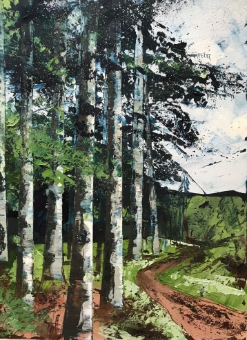 Path Through the Evergreens 25.x 35 cm oil on paper unframed