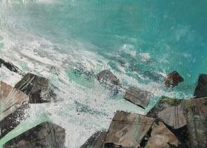 Sun on Sea and Cornish Rocks 35 x 25 cm oil on paper