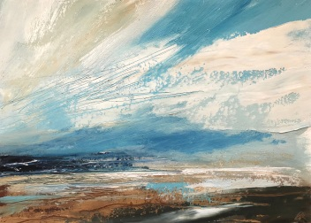 Blue Skies and Surf 35 x 25 cm oil on paper
