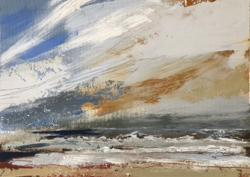 September Skies and Surf 35 x 25 cm oil on paper