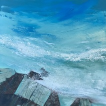 Turquoise Ocean 50 x 50 cm oil on canvas Eastgate Gallery Totnes