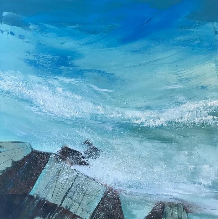 Turquoise Ocean 50 x 50 cm oil on canvas Eastgate Gallery Totnes