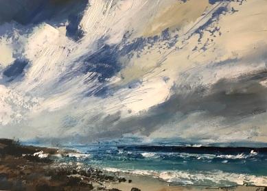 Surfs up at Sennen oil on paper 35.5 x 25.5 cm £150