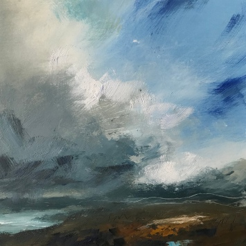 Under skies of grey and blue 30 x 30 cm oil on paper £150