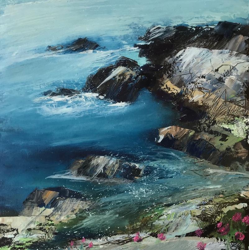 Blue Seas at Last 25 x 25 cm oil on paper unframed £150